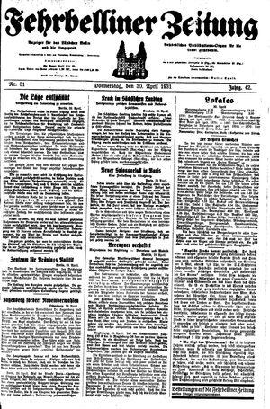 Fehrbelliner Zeitung vom 30.04.1931