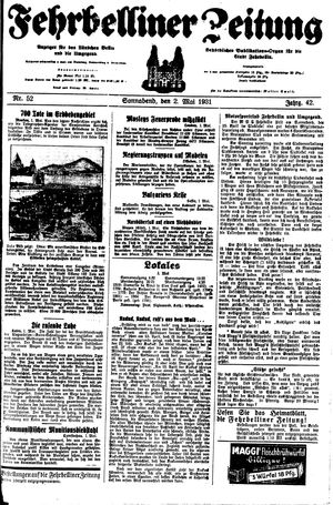 Fehrbelliner Zeitung vom 02.05.1931