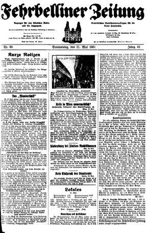 Fehrbelliner Zeitung vom 21.05.1931