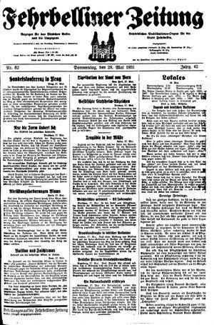 Fehrbelliner Zeitung vom 28.05.1931