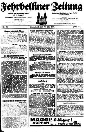 Fehrbelliner Zeitung vom 30.05.1931