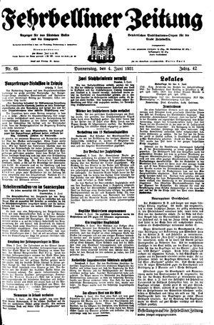 Fehrbelliner Zeitung vom 04.06.1931