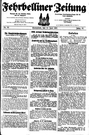 Fehrbelliner Zeitung vom 13.06.1931