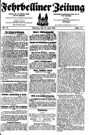 Fehrbelliner Zeitung vom 16.06.1931