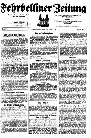 Fehrbelliner Zeitung vom 18.06.1931