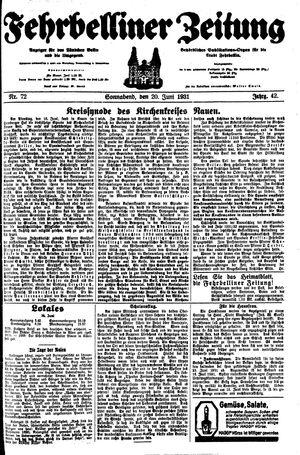Fehrbelliner Zeitung vom 20.06.1931