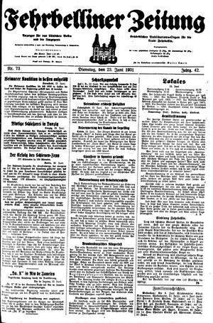 Fehrbelliner Zeitung vom 23.06.1931