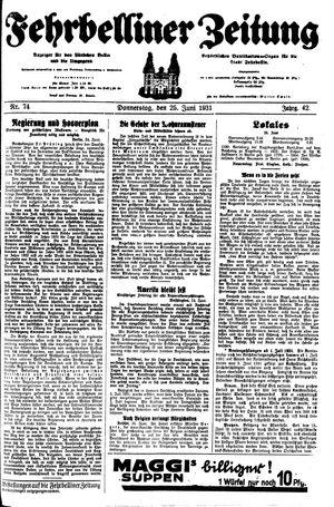 Fehrbelliner Zeitung vom 25.06.1931