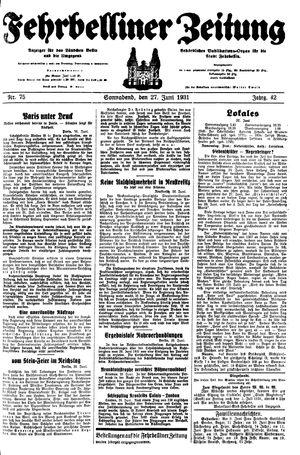 Fehrbelliner Zeitung vom 27.06.1931