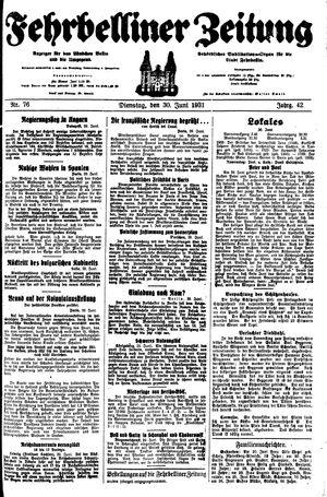 Fehrbelliner Zeitung vom 30.06.1931