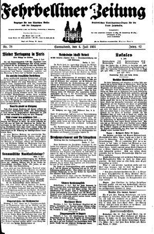 Fehrbelliner Zeitung vom 04.07.1931