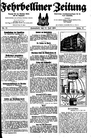 Fehrbelliner Zeitung vom 11.07.1931