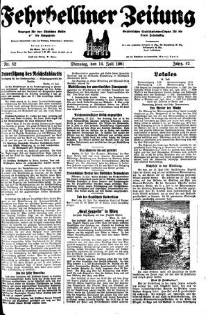 Fehrbelliner Zeitung vom 14.07.1931