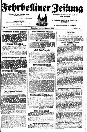 Fehrbelliner Zeitung vom 04.08.1931
