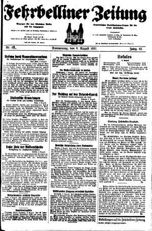 Fehrbelliner Zeitung vom 06.08.1931