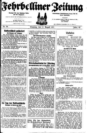 Fehrbelliner Zeitung on Aug 11, 1931