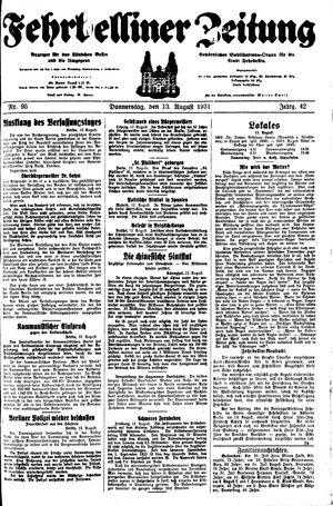 Fehrbelliner Zeitung vom 13.08.1931