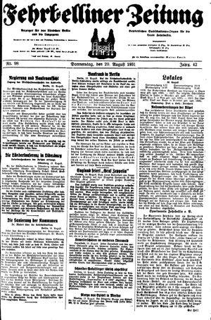 Fehrbelliner Zeitung vom 20.08.1931