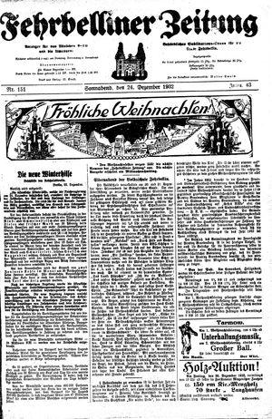 Fehrbelliner Zeitung vom 24.12.1932