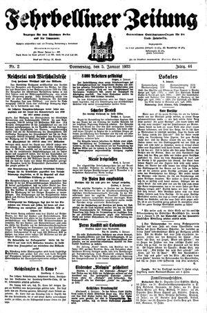 Fehrbelliner Zeitung vom 05.01.1933