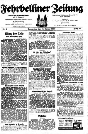 Fehrbelliner Zeitung vom 12.01.1933