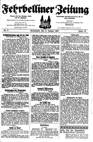 Fehrbelliner Zeitung vom 14.01.1933