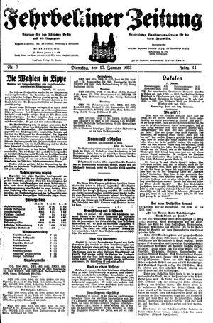 Fehrbelliner Zeitung vom 17.01.1933