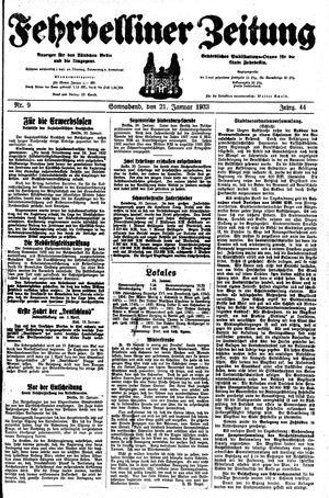 Fehrbelliner Zeitung vom 21.01.1933