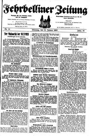 Fehrbelliner Zeitung vom 24.01.1933