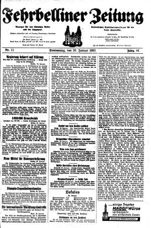 Fehrbelliner Zeitung vom 26.01.1933
