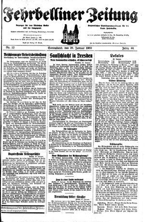 Fehrbelliner Zeitung vom 28.01.1933