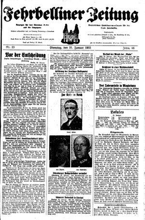Fehrbelliner Zeitung vom 31.01.1933