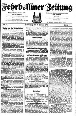 Fehrbelliner Zeitung vom 02.02.1933