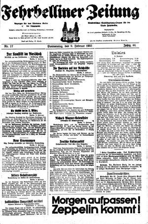 Fehrbelliner Zeitung vom 09.02.1933