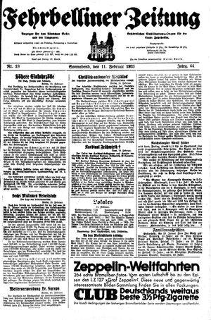 Fehrbelliner Zeitung vom 11.02.1933