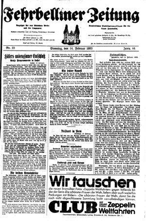 Fehrbelliner Zeitung vom 14.02.1933