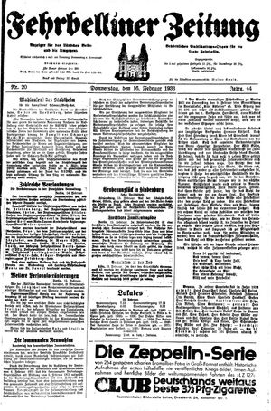 Fehrbelliner Zeitung on Feb 16, 1933