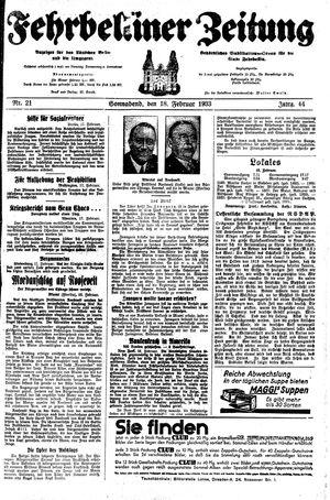 Fehrbelliner Zeitung vom 18.02.1933