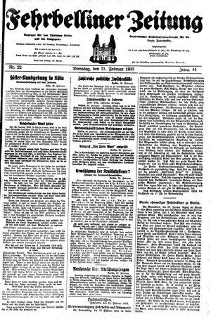 Fehrbelliner Zeitung vom 21.02.1933