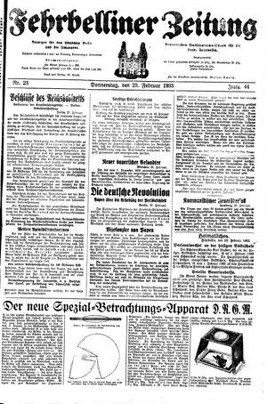 Fehrbelliner Zeitung vom 23.02.1933