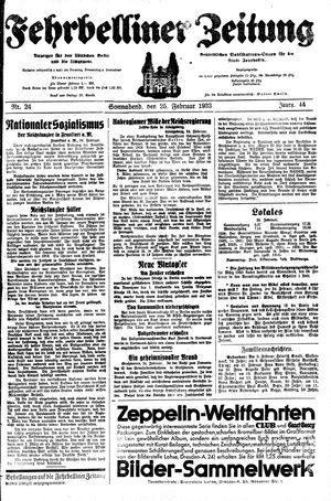 Fehrbelliner Zeitung vom 25.02.1933