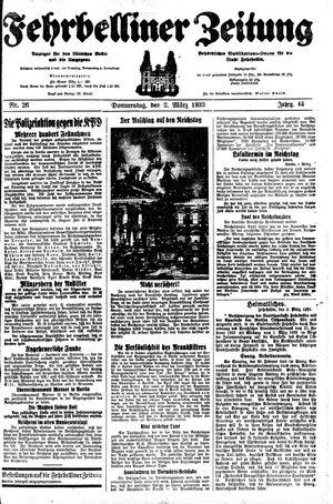 Fehrbelliner Zeitung vom 02.03.1933