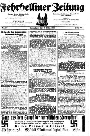 Fehrbelliner Zeitung vom 04.03.1933