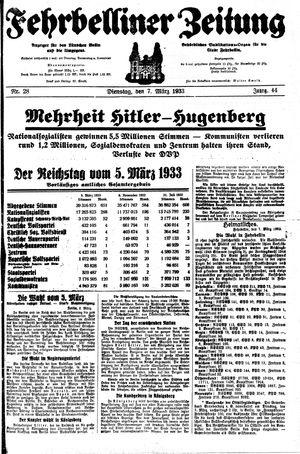 Fehrbelliner Zeitung vom 07.03.1933