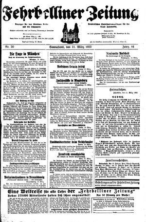Fehrbelliner Zeitung vom 11.03.1933