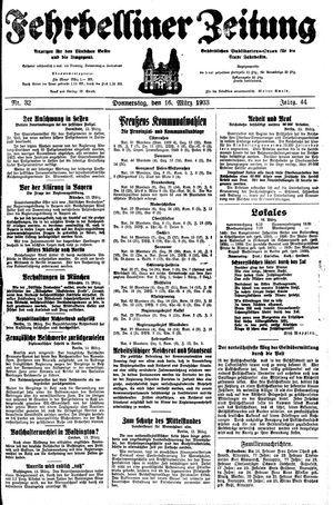 Fehrbelliner Zeitung on Mar 16, 1933