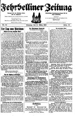 Fehrbelliner Zeitung vom 21.03.1933