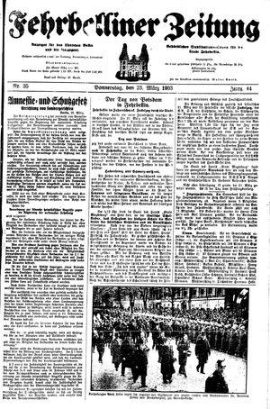 Fehrbelliner Zeitung vom 23.03.1933