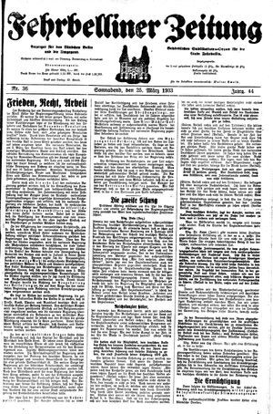 Fehrbelliner Zeitung vom 25.03.1933
