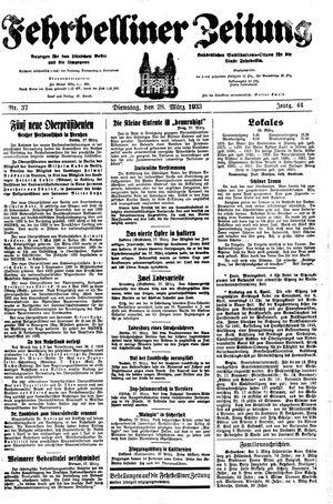 Fehrbelliner Zeitung vom 28.03.1933